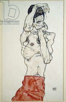 Reprodução do quadro Male nude with red sheet (self-portrait). Drawing by Egon Schiele , 1914. Pencil, watercolor and tempera on paper. Dim: 48x32cm. Vienna, Graphische Sammlung Albertina