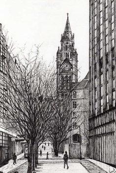 Reprodução do quadro Manchester Town Hall from Deansgate, 2007,