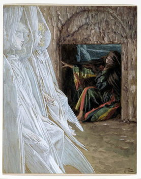 Reprodução do quadro  Mary Magdalene Questions the Angels in the Tomb, illustration for 'The Life of Christ', c.1886-94