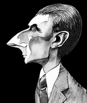 Reprodução do quadro Maurice Ravel, French composer  , grey tone watercolour caricature, 1996 by Neale Osborne