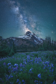 Arte Fotográfica Exclusiva Milky Way Above Mt. Jefferson