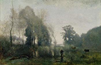 Reprodução do quadro Morning at Ville-d'Avray or, The Cowherd, 1868