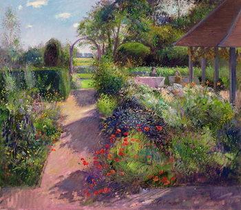 Reprodução do quadro  Morning Break in the Garden, 1994