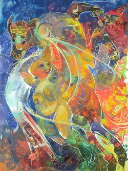 Reprodução do quadro  Myth and the Maiden, 1991