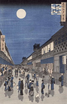 Reprodução do quadro  Night time view of Saruwaka Street, from 'Meisho Edo Hyakkei' (One Hundred Views of Edo)