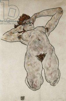 Reprodução do quadro  Nude Lying Down; Liegende Nackte, 1917