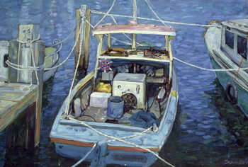 Reprodução do quadro Old Fishing Launch at the Wharf, 1988