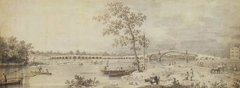 Reprodução do quadro Old Walton Bridge seen from the Middlesex Shore, 1755