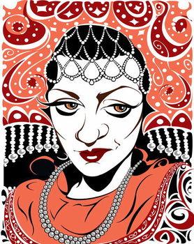 Reprodução do quadro Olga Borodina, Russian mezzo-soprano, colour version of b/w file image, 2005 by Neale Osborne