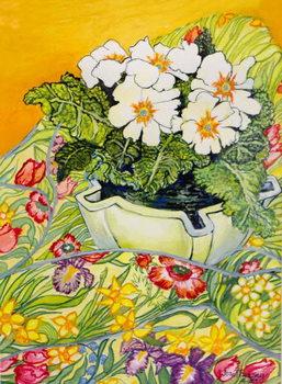Reprodução do quadro  Pale Primrose in a Pot with Spring-flowered Textile,2000