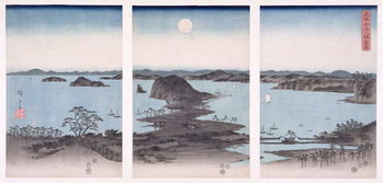 Reprodução do quadro  Panorama of Views of Kanazawa Under Full Moon, from the series 'Snow, Moon and Flowers', 1857
