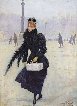 Reprodução do quadro  Parisian woman in the Place de la Concorde, c.1890