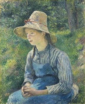 Reprodução do quadro  Peasant Girl with a Straw Hat, 1881