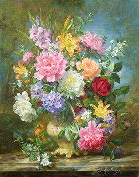 Reprodução do quadro Peonies and mixed flowers