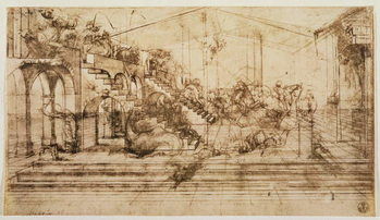 Reprodução do quadro  Perspective Study for the Background of The Adoration of the Magi