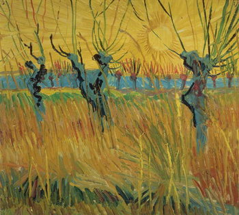 Reprodução do quadro  Pollarded Willows and Setting Sun, 1888