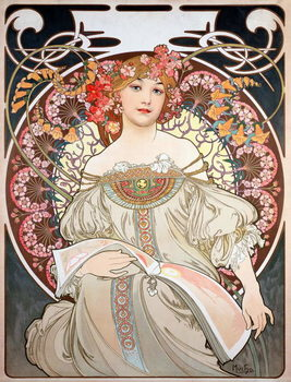 Reprodução do quadro  Poster by Alphonse Mucha (1860-1939) for the calendar of the year 1896 - Calendar illustration by Alphonse Mucha (1860-1939), 1896  - Private collection