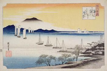 Reprodução do quadro  Returning Sails at Yabase, from the series, '8 views of Omi', c.1834