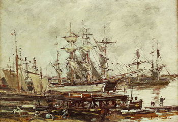 Reprodução do quadro Sailing ships in the port of Bordeaux