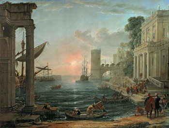 Reprodução do quadro  Seaport with the Embarkation of the Queen of Sheba, 1648