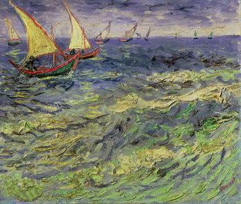 Reprodução do quadro  Seascape at Saintes-Maries (View of Mediterranean) 1888
