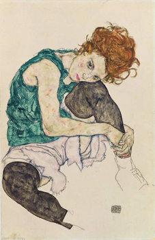 Reprodução do quadro Seated Woman with Bent Knee, 1917
