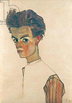 Reprodução do quadro  Self-Portrait with Striped Shirt, 1910