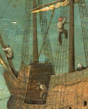 Reprodução do quadro Ship rigging detail from Tower of Babel, 1563