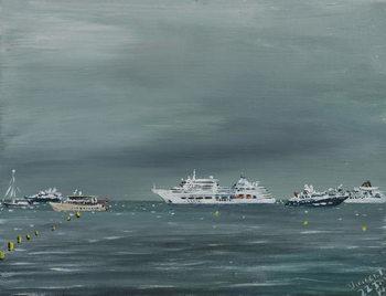 Reprodução do quadro  Ships and boats at Cannes, 2014,