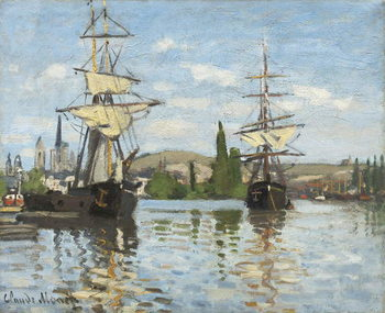 Reprodução do quadro  Ships Riding on the Seine at Rouen, 1872- 73