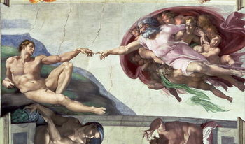 Reprodução do quadro  Sistine Chapel Ceiling (1508-12): The Creation of Adam, 1511-12 (fresco)