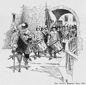 Reprodução do quadro Stuyvesant Surrendering Fort Amsterdam to the English, from Harper's Magazine, 1893