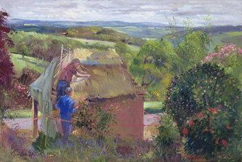 Reprodução do quadro  Thatching the Summer House, Lanhydrock House, Cornwall, 1993
