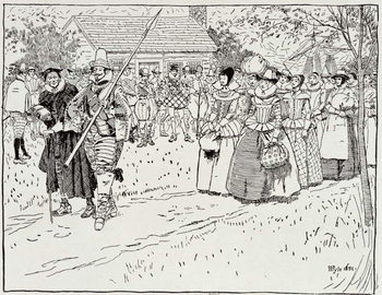 Reprodução do quadro  The Arrival of the Young Women at Jamestown, 1621, from Harper's Magazine, 1883
