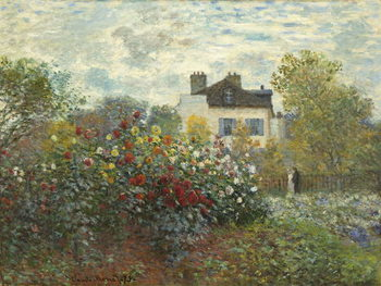 Reprodução do quadro  The Artist's Garden in Argenteuil (A Corner of the Garden with Dahlias), 1873