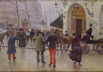 Reprodução do quadro  The Boulevard des Capucines and the Vaudeville Theatre, 1889