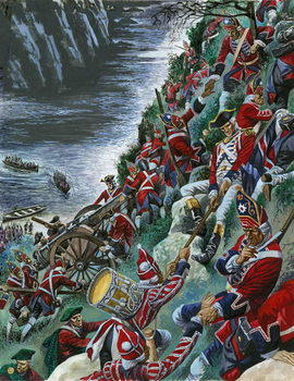 Reprodução do quadro The British soldiers make the arduous ascent of the Heights of Abraham to take Quebec