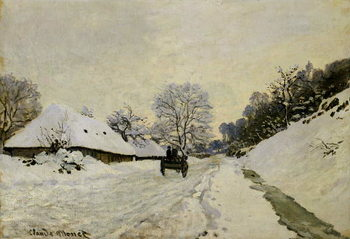 Reprodução do quadro The Cart, or Road under Snow at Honfleur, 1865