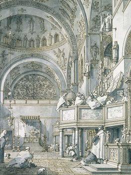 Reprodução do quadro  The Choir Singing in St. Mark's Basilica, Venice, 1766