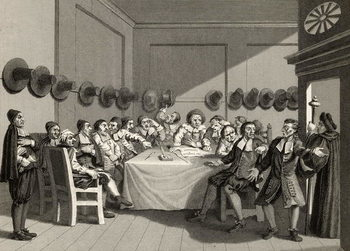 Reprodução do quadro  The Committee, from 'Hudibras' by Samuel Butler (1612-80) engraved by Charles Mottram (1807-76) from 'The Works of William Hogarth', published 1833