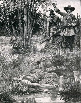 Reprodução do quadro  The Death of King Philip, engraved by A. Hayman, from Harper's Magazine, 1883