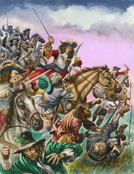 Reprodução do quadro  The Duke of Monmouth at the Battle of Sedgemoor.
