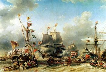Reprodução do quadro  The Embarkation of Ruyter and William de Witt in 1667, 1850-51