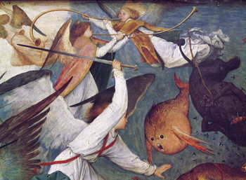 Reprodução do quadro The Fall of the Rebel Angels, detail of angels fighting and playing music
