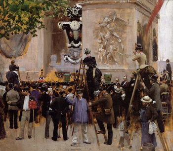 Reprodução do quadro  The Funeral of Victor Hugo (1802-85) at the Arc de Triomphe, 1885