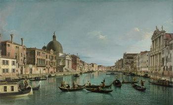 Reprodução do quadro  The Grand Canal in Venice with San Simeone Piccolo and the Scalzi church, c. 1738