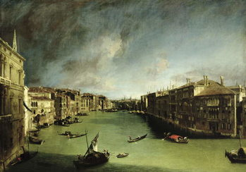 Reprodução do quadro  The Grand Canal, View of the Palazzo Balbi towards the Rialto Bridge, 1724