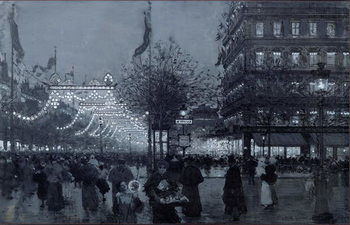 Reprodução do quadro The Grands Boulevards, Paris, decorated for the Celebration of the Franco-Russian Alliance in October 1893