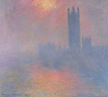 Reprodução do quadro  The Houses of Parliament, London, with the sun breaking through the fog, 1904