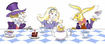 Reprodução do quadro The Mad Hatter's Tea Party - illustration to  Lewis Carroll 's 'Alice's Adventures in Wonderland' , 2005